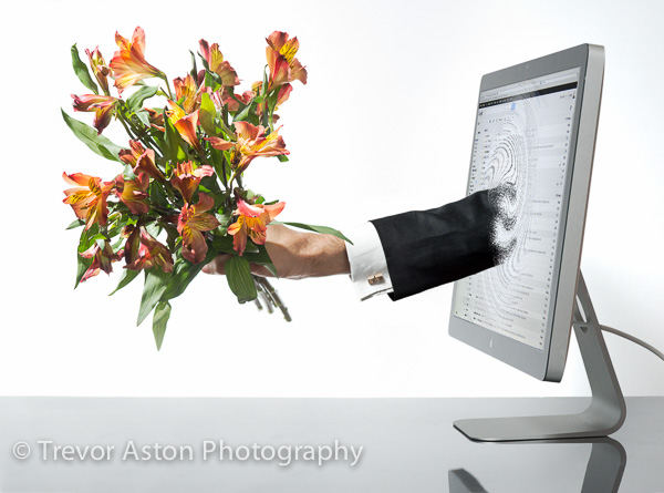 bunch_of_flowers_throuh_monitor_business_family_photography_Richmond_Surrey_London