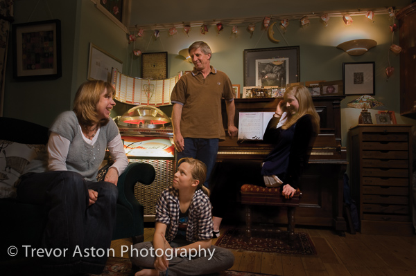 Family portrait photography in the music room