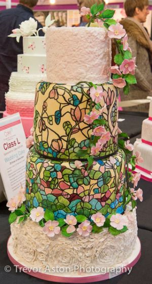 Colourful wedding cake at Cake International ExCel London